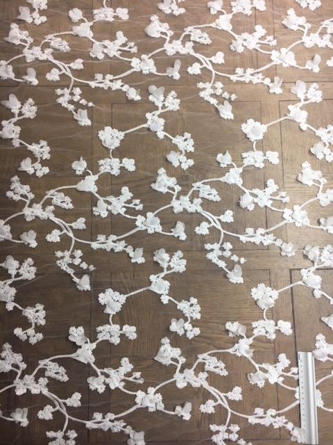 Broderie cerisier feuillages touché coton 6060